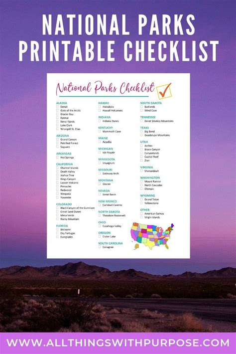United States National Parks Free Printable Checklist